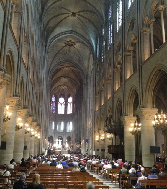 Inside the Notre Dame during a Sunday Mass