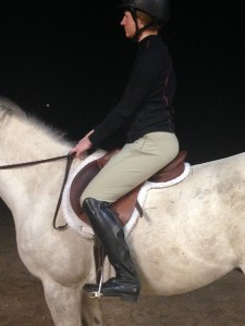 Stirrups shortened. Getting better. Trainer requests another pic with stirrups shortened again. Done and done.