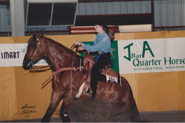 Showing in reining at the MetraPark in Billings, Montana sometime between 1996 and 1998