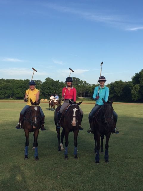 The polo ladies! I'm in the middle on Prince, the saintly polo pony who puts up with polo novices and never even tried to unseat me.